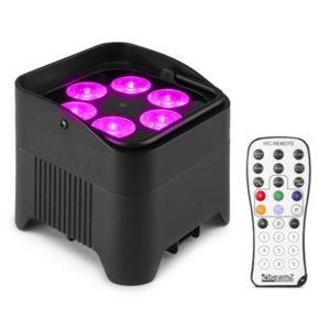 Beamz BBP96 Uplight Par 6X 12W RGBWA-UV Battery DMX IR
