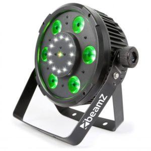 Beamz BX100 PAR 64 WITH COB LED AND STROBE + LASER 6x 6W 4-1 RGBW LEDS