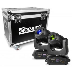 Beamz Ignite 180 LED Moving Head Spot 2pc in Flight Case