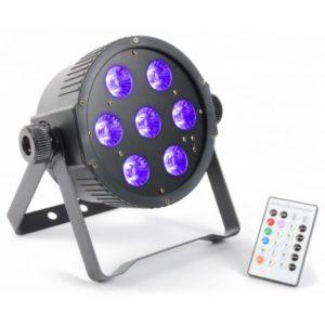 Beamz LED Flatpar 7 x 18w RGBWAUV LEDS DMX IR Remote Control