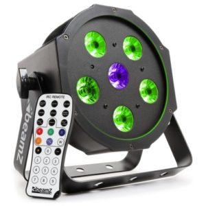 Beamz LED PAR 56 Flatpar 5x 6W RGB + 1x 6W UV LEDs DMX IRC