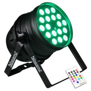 Beamz LED PAR 64, 18 X 10W Quad RGBW IR DMX