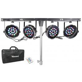 Beamz LED PARBAR 4-Way Kit 18X 1W RGB DMX incl Light Stand
