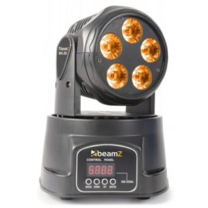 Beamz MHL-90 LED Mini Moving Head Wash 5X 18W RGBAW UV LEDS DMX
