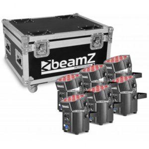 Beamz Pro Uplighter 9 X 12W 6-1 RGBWA-UV LED Battery DMX – 6 PC in Flightcase