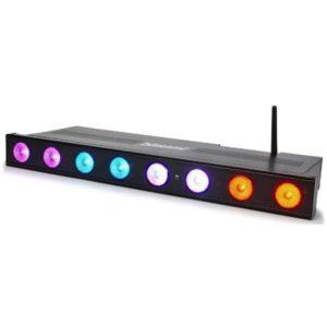 Beamz WI-Bar 8x3W Wireless LED TRI Colour 2.4GHZ DMX (Battery)
