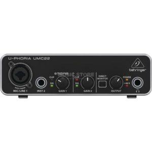 Behringer UMC22 2×2 USB Audio Interface with Midas Mic Preamplifier