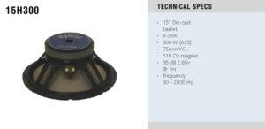 Hybrid 15H350 mk2 320W 15″ Die Cast Basket Speaker Driver