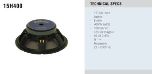 Hybrid 15H400 mk2 400W 15″ Die Cast Basket Speaker Driver