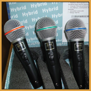Hybrid D-1 MKII (3 pack) Dynamic Microphone w/Switch & 4m cable