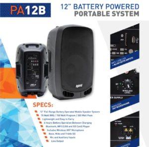 Hybrid PA 12B 12″ Battery operated Speaker
