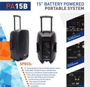 Hybrid PA15B Battery Operated 15″ Full Range speaker BT, USB, FM wireless Mic