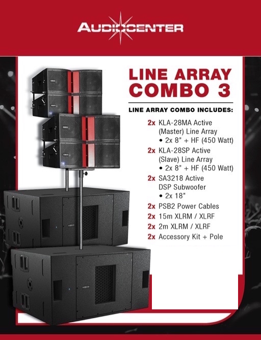 Line Array Active Speaker and Subwoofer Combo