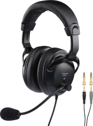 Monacor BH-009 Professional Stereo Headphones with Dynamic Boom Microphone